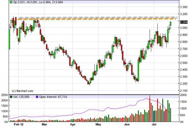 Natural Gas forecast July 23, 2012, Technical Analysis