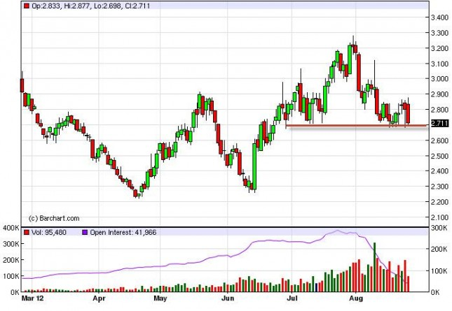 Natural Gas Forecast August 27, 2012, Technical Analysis