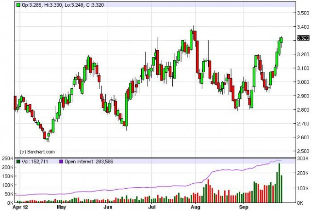 Natural Gas Forecast October 1, 2012, Technical Analysis