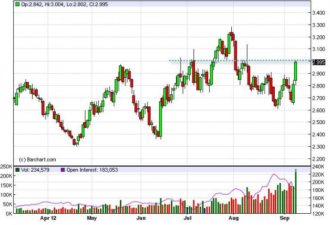 Natural Gas Forecast September 12, 2012, Technical Analysis