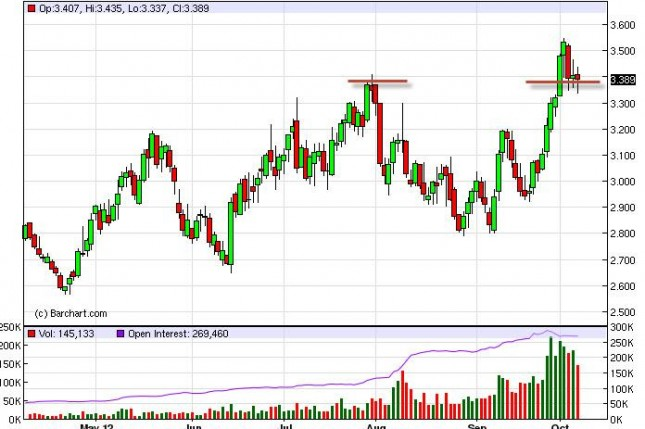 Natural Gas Forecast October 8, 2012, Technical Analysis
